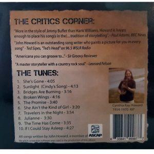 John Howard Sunlight CD back cover